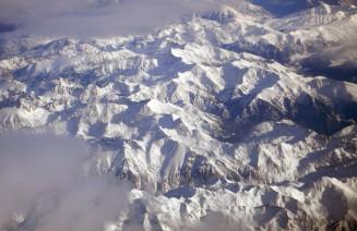 Imatge dels Pirineus des del cel al hivern