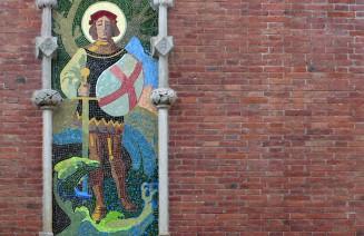 Mosaix de Sant Jordi i el drac a l'Hospital de Sant Pau de Barcelona