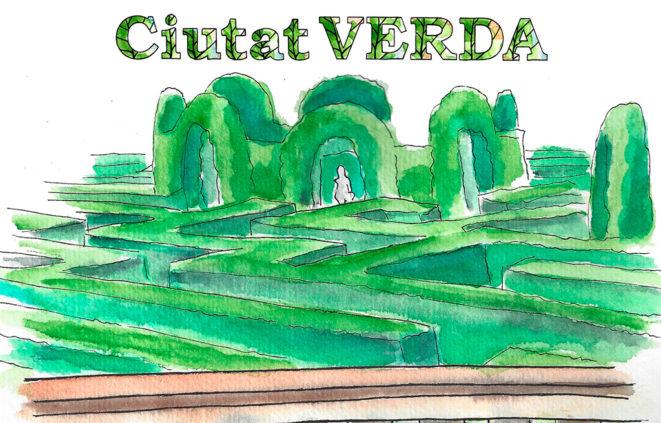 Dibuix del Parc del Laberint i logo del cicle Ciutat Verda, sobre corredors, vegetació, verd urbà, ecologia, platges, medi ambient, natura, parcs urbans, salut, ciutat i il·lustració