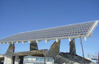 Imatge de la pèrgola fotovoltaca del Fòrum de Barcelona